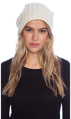 LOMA Carly Beanie with Rabbit Fur Pompom in Cream