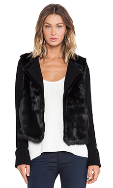 LOMA Dee Dee Rabbit Fur and Wool Wrap in Black