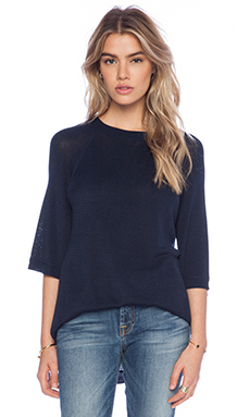 Lonely Silk Knit Tee in Navy