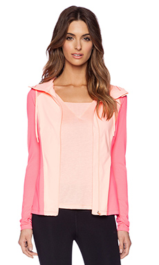 Lorna Jane Gaga Excel Zip Hoodie in Dragon Fruit & Neon Peach Melba