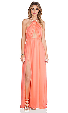 Lost in Alila Isla Twist Halter Maxi Dress in Coral