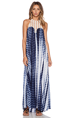 Lost in Alila Sun Down Maxi Dress in Blue Tie Dye
