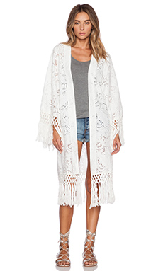 Lost in Alila Sun Chaser Kimono in White Crochet