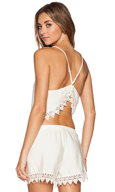 Le Salty Label Barley Crochet Crop Top in Cream