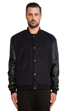 lot78 Varsity Bomber in Midnight/ Black