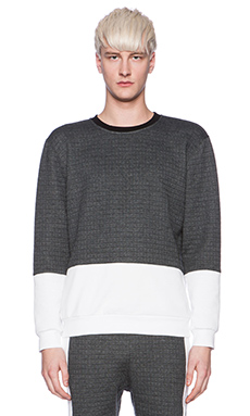 lot78 Textured Sweatshirt in Dark Grey & White