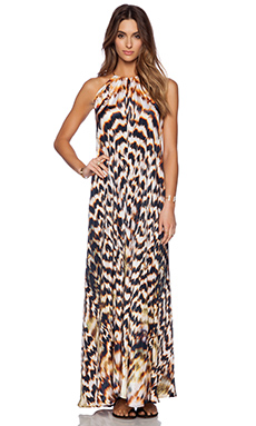 Lotta Stensson Halter Necklace Dress in Gold Feather