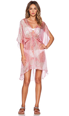 Lotta Stensson Peacock Batik Mini Robe in Pink & Turquoise