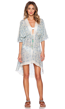 Lotta Stensson Midsummer Mini Robe in White & Blue
