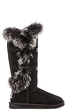 Australia Luxe Collective Nordic Angel Extra Tall with Rabbit Fur Trim in Black