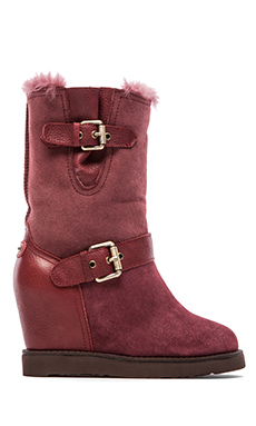 Australia Luxe Collective Machina Wedge Boot with Fur Lining in Oxblood