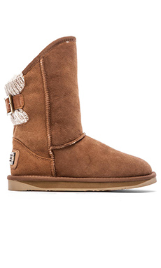 Australia Luxe Collective Spartan Knit Short Boot with Fur Lining in Chestnut