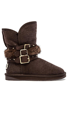 LUXCLUSIVE by Australia Luxe Collective Hatchet Boot with Mink Fur Trim in Crocodile Beva