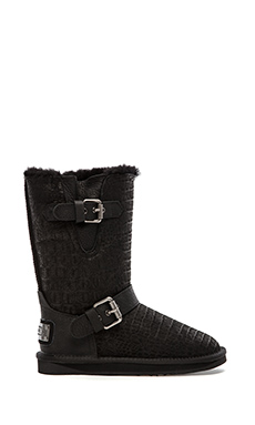 LUXCLUSIVE by Australia Luxe Collective Machina Boot with Fur Lining in Crocodile Black