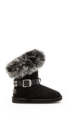 LUXCLUSIVE by Australia Luxe Collective Tsar Short Boot with Fox Fur Trim in Black