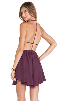 Jhene Aiko for Lovers and Friends Get Out Dress in Dark Purple
