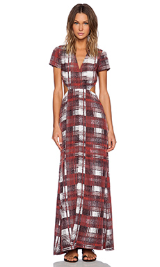 Lovers + Friends Harper Maxi Dress in Merlot Plaid