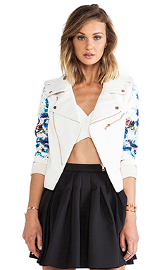 Lovers + Friends Gonna Get You Moto in White & Blue Floral
