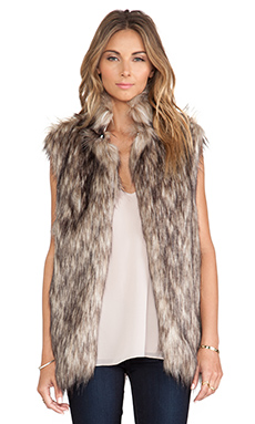 Lovers + Friends Camille Faux Fur Vest in Mocha