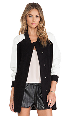 Lovers + Friends Varsity Coat in Black