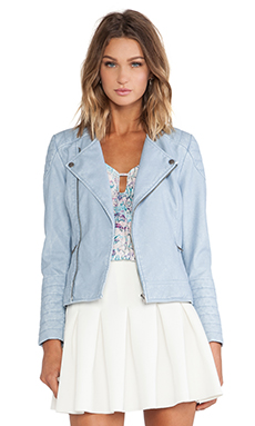 Lovers + Friends Sweet Rebel Moto Jacket in Ice Blue