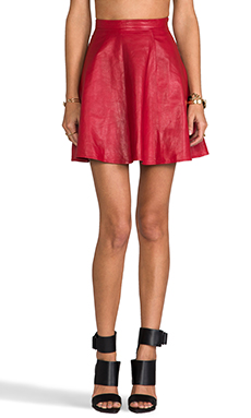 Monica Rose for Lovers + Friends Charlie Skirt in Red Leather