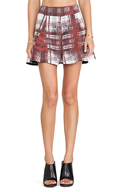 Lovers + Friends Tatum Skirt in Merlot Plaid