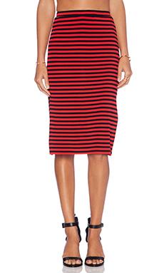 Lovers + Friends Iggy Slit Midi Skirt in Red Stripe