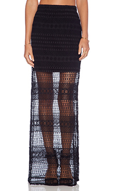 Jhene Aiko for Lovers and Friends Parker Crochet Skirt in Black