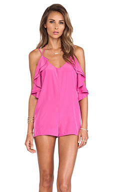 Lovers + Friends Cascade Romper in Peony Pink