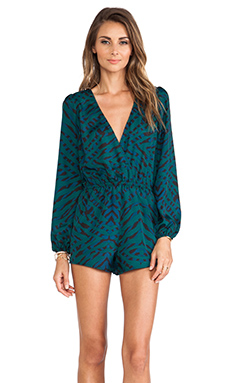 Lovers + Friends Monday to Friday Romper in Evergreen Animal