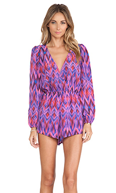 Lovers + Friends Monday to Friday Romper in Fuchsia Zig Zag