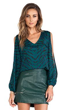 Lovers + Friends Daydream Blouse in Evergreen Animal