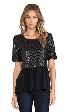 Lovers + Friends Girl Next Door Top in Chevron Sequin
