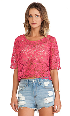 Lovers + Friends Bea Oversized Top in Pink Lace