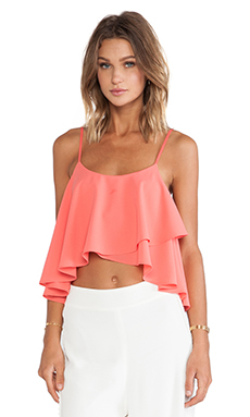 Lovers + Friends Long Weekend Crop Top in Coral