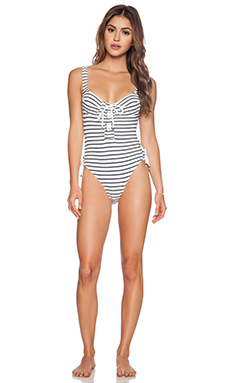 Lovers + Friends Stripe It Down One Piece in Navy & White Stripe
