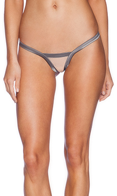 Love Haus by Beach Bunny Stripe Illusion Thong in Charcoal & Nude