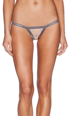 Love Haus by Beach Bunny Stripe Illusion Cheeky Panty in Charcoal & Nude