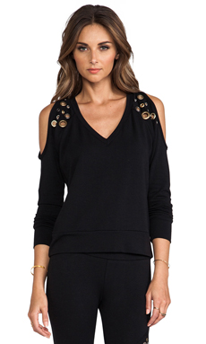 Love Haus by Beach Bunny Grommet Loungewear V Neck Pullover in Black