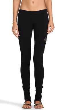 Love Haus by Beach Bunny Grommet Loungewear Zip Cuff Legging in Black