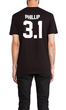 LPD New York Phillip Tee in Black with White Print