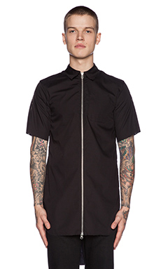 LPD New York Zipper Button Down Long Shirt in Black