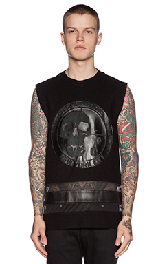 LPD New York Sleeveless Jersey w/ Leather Patch in Black