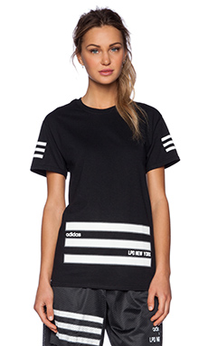 LPD New York x Adidas 3 Stripe Bottom Tee in Black