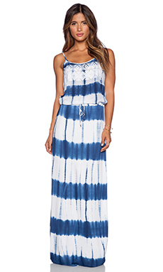 Love Sam Angelica Tie Dye Maxi Slit Dress in Blue & White