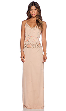 Love Sam Simone Embellished Maxi Dress in Latte