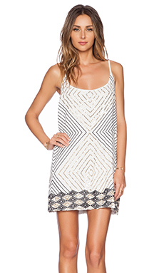 Love Sam Nicolle Embellished Mini Dress in White & Gold