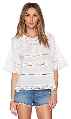 Love Sam Vivian Swing Top with Lace in White