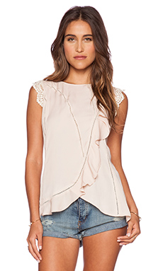 Love Sam Thalia Seamed Ruffle Top in Blush